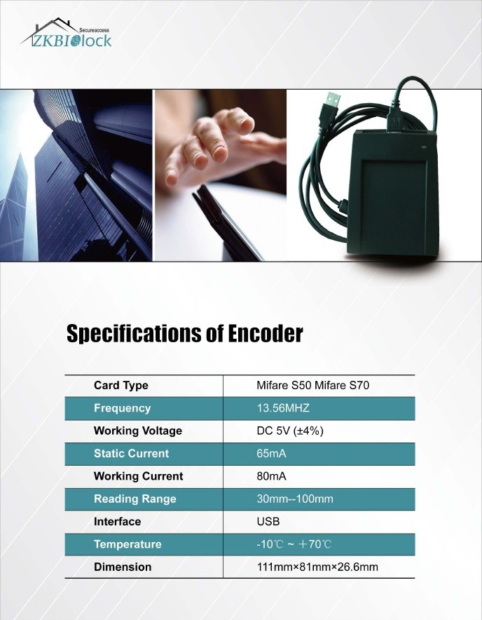 Zkteco Hotel Key Card Encoder Hotel Card Lock Encoder