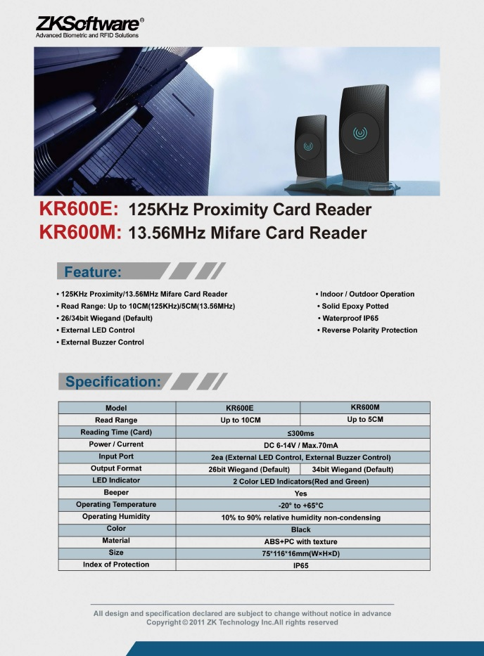 kr600e-kr600m proximity card reader India