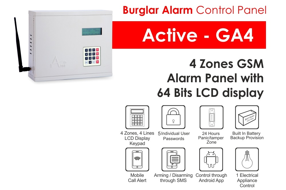Gsm 4 Four Zone Burglar Alarm Systems Atss Chennai India